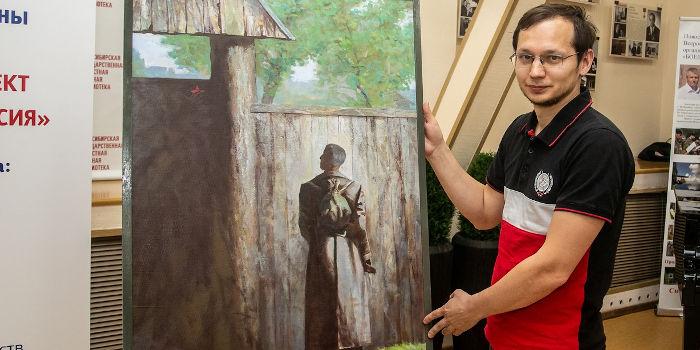 Novosibirsk Artist Presented Military Painting to Volgograd